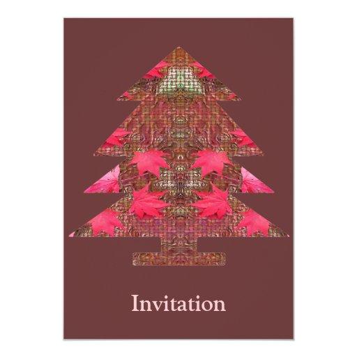 Christmas Tree - Autumn leaves 5x7 Paper Invitation Card