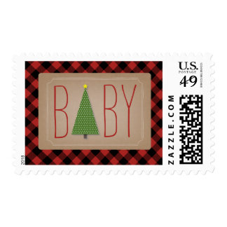 Christmas Tree Baby Postage - Plaid