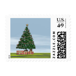 Christmas tree background - 3D render Postage