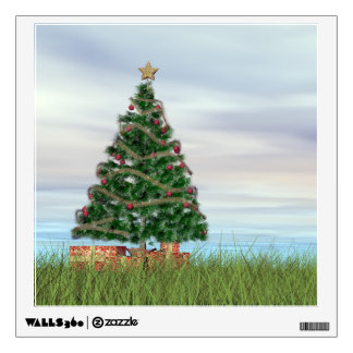 Christmas tree background - 3D render Wall Decal