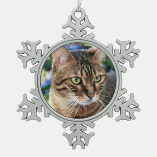 Christmas Tree Background Bengal Cat Snowflake Snowflake Pewter Christmas Ornament