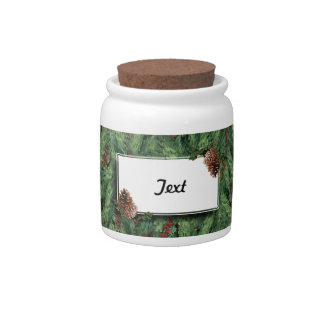Christmas Tree Background w/Tag Candy Jar