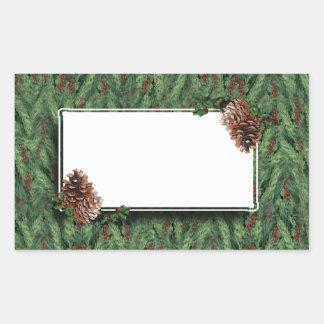 Christmas Tree Background w/Tag Rectangular Sticker