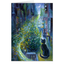 Christmas Tree Balcony View Cat Card