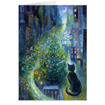 Christmas Themed Christmas Tree Balcony View Cat Card