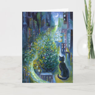 Cat christmas cards greeting photo cards zazzle christmas tree balcony view cat holiday card m4hsunfo
