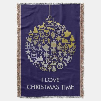 Christmas Tree Ball Ornament + your ideas Throw Blanket