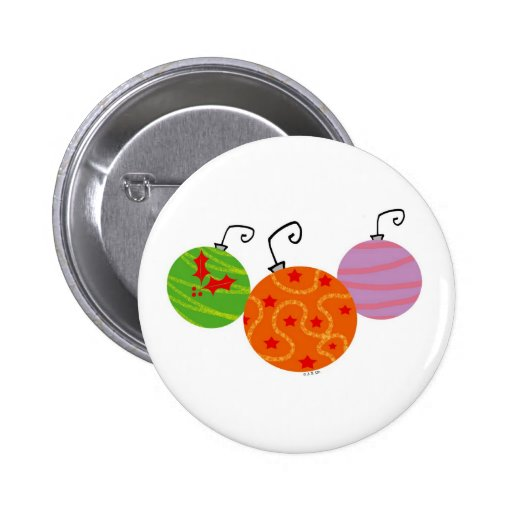 Christmas tree balls pinback button