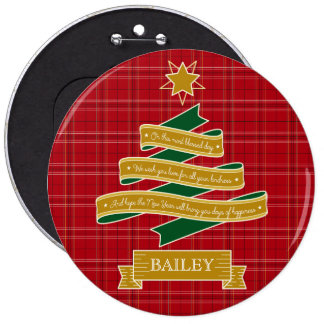 Christmas Tree Banner Red Plaid Yuletide Greetings Button