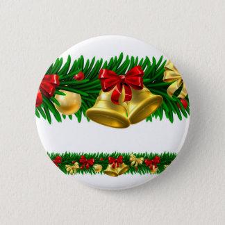 Christmas Tree Baubles Wreath Design Border Pinback Button