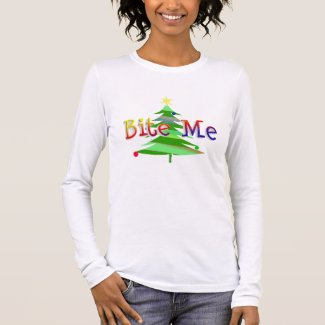 Christmas Tree Bite Me Long Sleeve T-Shirt