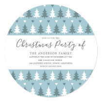 Christmas Tree Blue Gray Christmas Party Circle Invitation