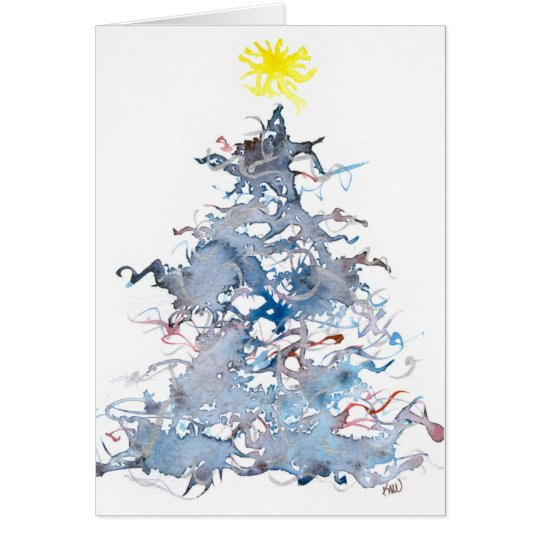 Christmas Tree, Blue, Greeting Card