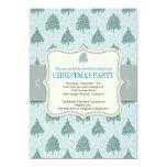 Christmas Tree Blue Holiday Party Invitation