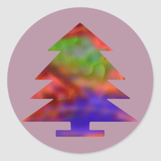 Christmas Tree - Blue/Red/Green Round Stickers