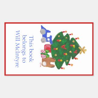 Christmas tree bookplate rectangular sticker