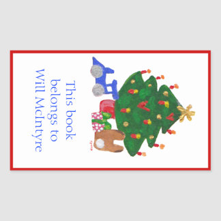 Christmas tree bookplate rectangular stickers