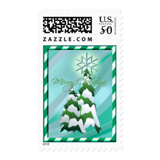 CHRISTMAS TREE & BORDER by SHARON SHARPE Postage