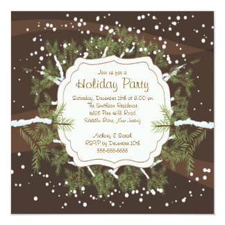 Christmas Tree Branch Snowflakes Holiday Party 5.25x5.25 Square Paper Invitation Card