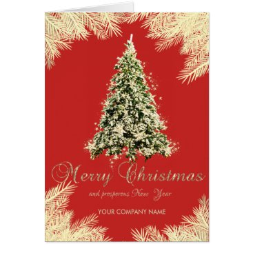 Professional Business Christmas Tree,Branches,Red ,Corporate Card