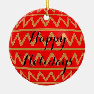 Christmas Tree Bulb Red Gold Stripe Zigzag Pattern Ceramic Ornament