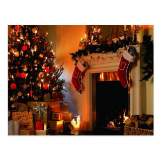 Christmas Tree by the Fire Postcard