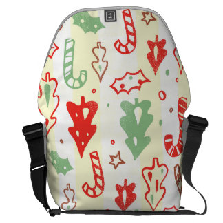 Christmas Tree Candy Cane Holly Pattern Courier Bag