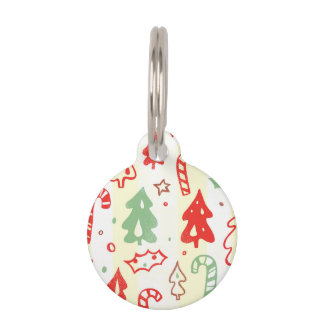 Christmas Tree Candy Cane Holly Pattern Pet Tags
