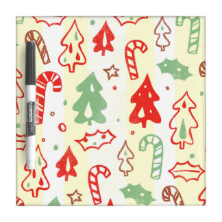Christmas Tree Candy Cane Holly Pattern Dry Erase Board