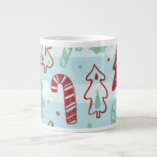 Christmas Tree Candy Cane Holly Pattern on Blue Giant Coffee Mug