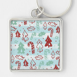 Christmas Tree Candy Cane Holly Pattern on Blue Keychain