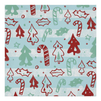 Christmas Tree Candy Cane Holly Pattern on Blue Poster