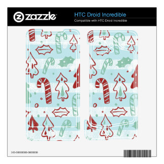 Christmas Tree Candy Cane Holly Pattern on Blue HTC Droid Incredible Skin