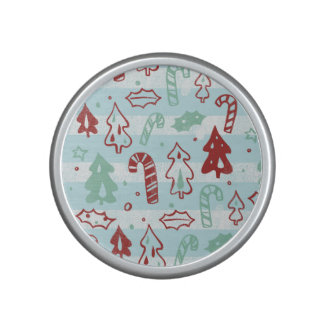 Christmas Tree Candy Cane Holly Pattern on Blue Speaker