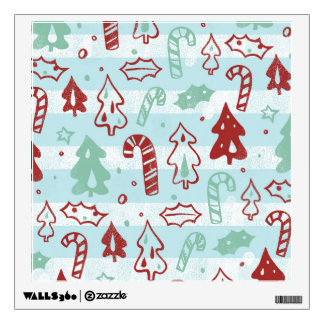 Christmas Tree Candy Cane Holly Pattern on Blue Wall Skins