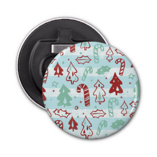 Christmas Tree Candy Cane Holly Pattern on Blue Button Bottle Opener
