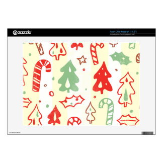 Christmas Tree Candy Cane Holly Pattern Skin For Acer Chromebook
