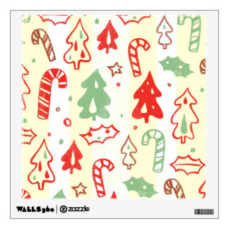 Christmas Tree Candy Cane Holly Pattern Wall Sticker