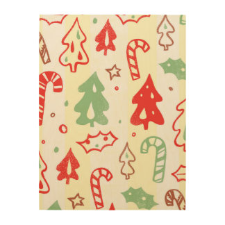 Christmas Tree Candy Cane Holly Pattern Wood Print