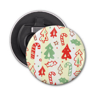 Christmas Tree Candy Cane Holly Pattern Button Bottle Opener