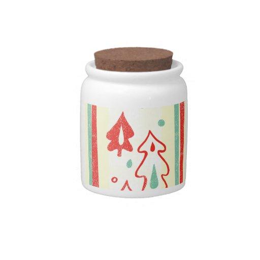 Christmas Tree Candy Cane Stripe Pattern Candy Jars