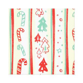 Christmas Tree Candy Cane Stripe Pattern Canvas Print
