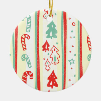 Christmas Tree Candy Cane Stripe Pattern Ceramic Ornament