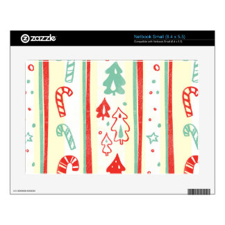 Christmas Tree Candy Cane Stripe Pattern Skin For Netbook