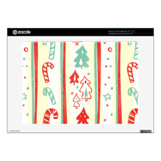 Christmas Tree Candy Cane Stripe Pattern Acer Chromebook Skins
