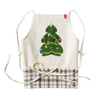 Christmas tree cartoon zazzle HEART apron