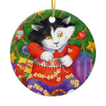 Christmas Tree Cat Double-Sided Ceramic Round Christmas Ornament