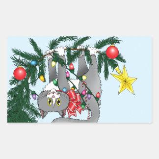 Christmas Tree Cat Rectangular Sticker