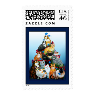 Christmas Tree Cats Postage Stamp