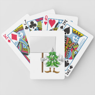 Christmas tree character holding sign bicycle poker cards